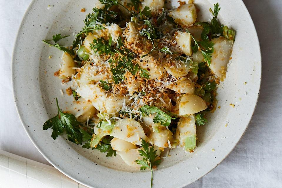 """Steaming is a simple, elegant way of preparing turnips, but this recipe has plenty of flavor, too, thanks to a double dose of lemon and the garlicky panko. <a href=""""https://www.epicurious.com/recipes/food/views/turnips-with-garlicky-breadcrumbs-and-parmesan?mbid=synd_yahoo_rss"""" rel=""""nofollow noopener"""" target=""""_blank"""" data-ylk=""""slk:See recipe."""" class=""""link rapid-noclick-resp"""">See recipe.</a>"""