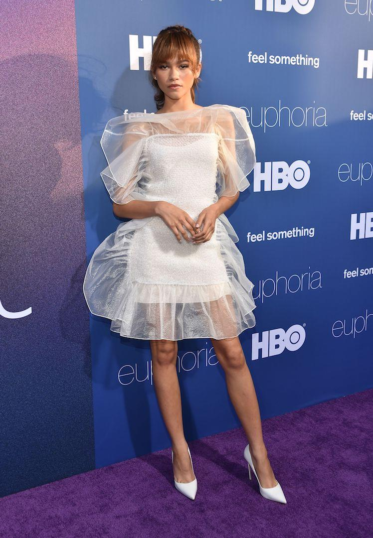 Not one to put a sartorial foot wrong, the 22-year-old actress chose a seriously chic sheer number by Nina Ricci dress for the premiere of 'Euphoria'. She finished the red carpet ensemble with matching Le Silla shoes. <em>[Photo: Getty]</em>