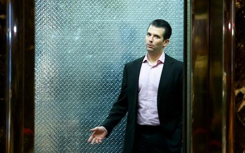 Donald Jr arriving for a meeting in Trump Tower - Credit: AFP