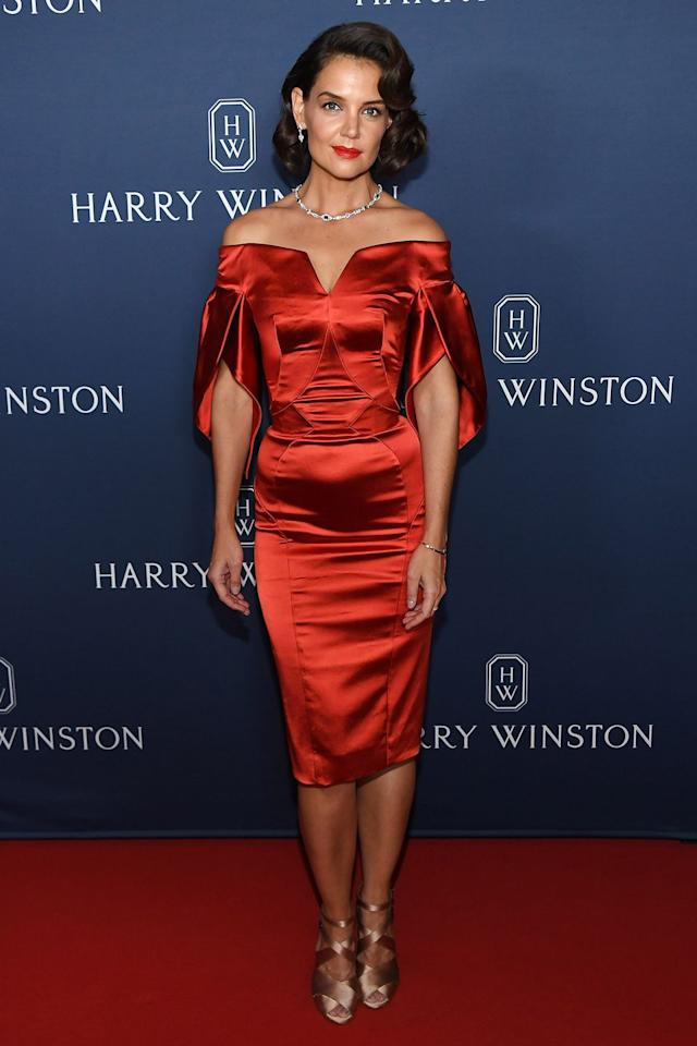 <p><strong>20 September </strong>Katie Holmes attended a Harry Winston event in New York to celebrate the jeweller's new collection, wearing a Zac Posen dress and Alaia shoes<strong>. </strong></p>
