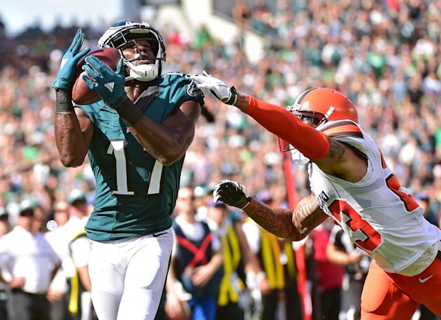 <p>Philadelphia Eagles wide receiver Nelson Agholor (17) makes a 35 yard touchdown catch against Cleveland Browns cornerback Joe Haden (23) during the third quarter at Lincoln Financial Field. Mandatory Credit: Eric Hartline-USA TODAY Sports </p>