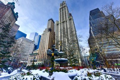 The historic Woolworth Building on a brisk winter day.