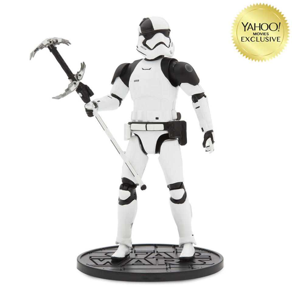 """<p>""""The First Order Judicial Stormtrooper features prominent pauldrons, helmet markings, and weaponry to dispense justice."""" $26.95/DisneyStore.com (Photo: Disney Store) </p>"""