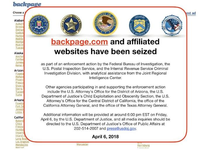 Online platforms, like classified advertising website Backpage.com, are being held responsible by the new law for any sex related content. (Image: Backpage)