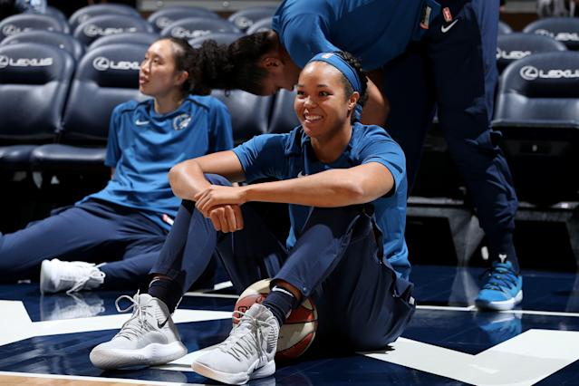 "<a class=""link rapid-noclick-resp"" href=""/wnba/players/6023/"" data-ylk=""slk:Napheesa Collier"">Napheesa Collier</a> joined <a class=""link rapid-noclick-resp"" href=""/wnba/players/4395/"" data-ylk=""slk:Candace Parker"">Candace Parker</a> as the two most prolific rookie scoring debuts in WNBA history. (Photo by David Sherman/NBAE via Getty Images)"