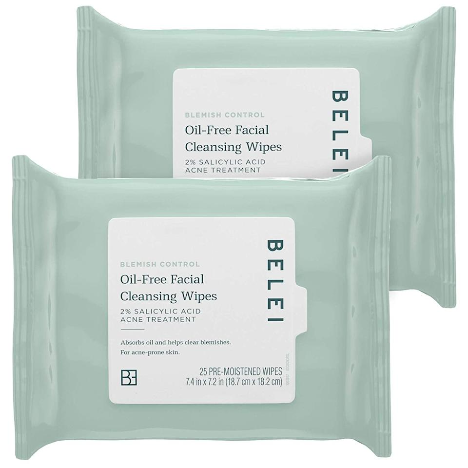 """<h3><strong>Blemish Control Oil-Free Facial Cleansing Wipes</strong></h3><br><em>Lightning Deal: <strong>20% off </strong>10/14 3:45 PM–9:25 PM<br></em><br>""""I'm not a huge believer in facial cleansing wipes, mostly because I love a good double cleanse and find the act of washing my face to be somewhat calming. But having this in my bag pre-SoulCycle might have actually saved my life. Not only did it wipe away all my makeup, it left my skin feeling refreshed, and gave me peace of mind that my post-cycling sweat wouldn't break me out *too bad*."""" — Bullion<br><br><strong>Belei</strong> Blemish Control Facial Cleansing Wipes (2 Pack), $, available at <a href=""""https://amzn.to/3iRkLul"""" rel=""""nofollow noopener"""" target=""""_blank"""" data-ylk=""""slk:Amazon"""" class=""""link rapid-noclick-resp"""">Amazon</a>"""