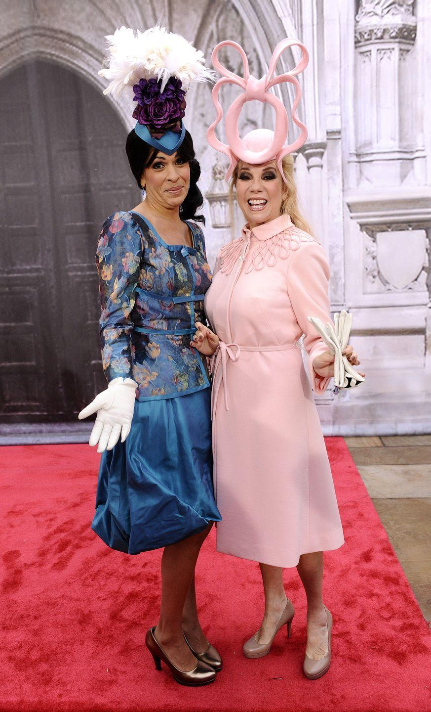 "<p>The cohosts copied the Princesses of Yorks' outfits (and <a href=""https://www.goodhousekeeping.com/life/a22626563/princess-eugenie-beatrice-kate-middleton-hat-wedding/"" rel=""nofollow noopener"" target=""_blank"" data-ylk=""slk:now-infamous hats"" class=""link rapid-noclick-resp"">now-infamous hats</a>) from their cousin William's 2011 wedding.<br></p>"