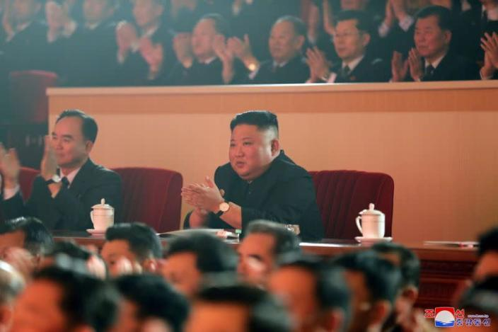 KCNA image of North Korean leader Kim Jong Un at a Lunar New Year performance in Pyongyang