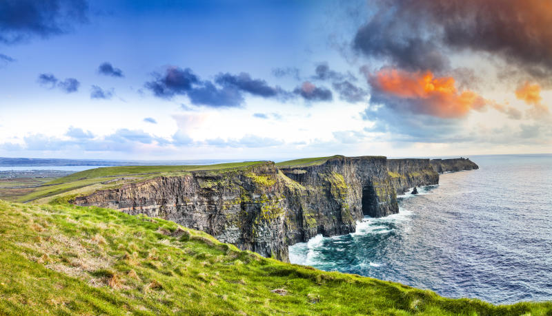 Cliffs of Moher at colourful sunset Co. Clare, Ireland