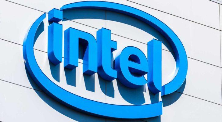 Close up of Intel sign at their San Jose campus in Silicon Valley