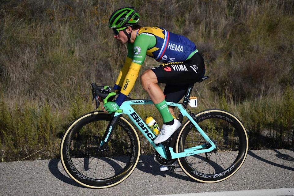 AGUILAR DE CAMPOO SPAIN  OCTOBER 29 Primoz Roglic of Slovenia and Team Jumbo  Visma Green Points Jersey  during the 75th Tour of Spain 2020 Stage 9 a 1577km stage from Cid Campeador Military Base Castrillo del Val to Aguilar de Campoo  lavuelta  LaVuelta20  on October 29 2020 in Aguilar de Campoo Spain Photo by Justin SetterfieldGetty Images