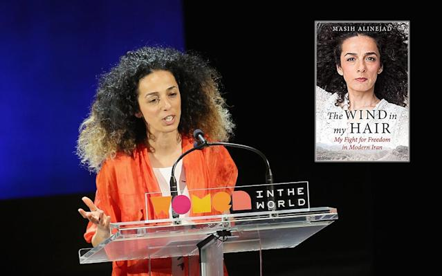 "Masih Alinejad speaks during Tina Brown's Women in the World conference in 2016 in New York City. Inset, Alinejad's memoir, ""The Wind in My Hair."" (Photos: Jemal Countess/Getty Images; Little, Brown)"