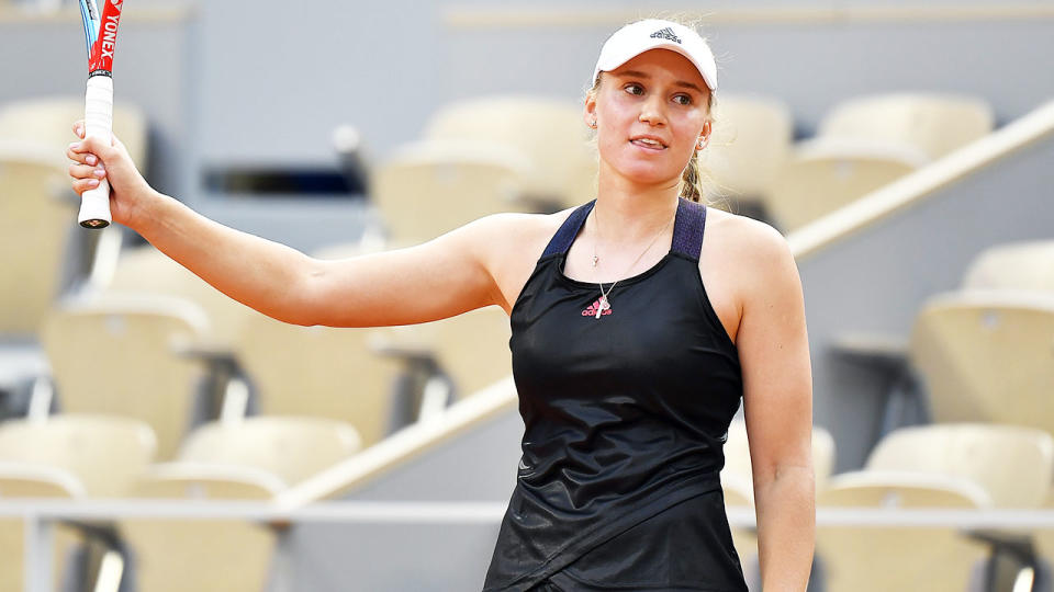 Elena Rybakina, pictured here celebrating after beating Serena Williams at the French Open.