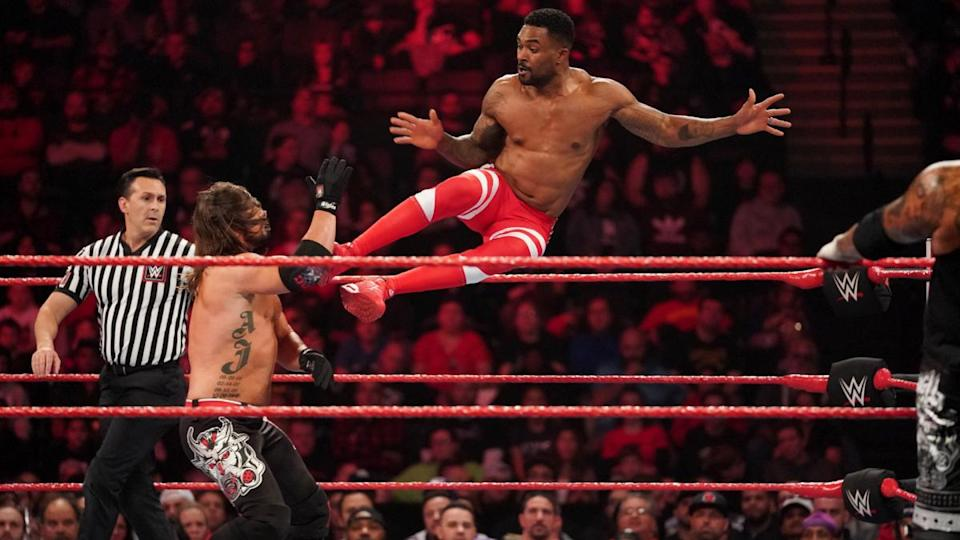 """WWE star Montez Ford is seen performing in a match against A.J. Styles on """"Monday Night Raw."""" (Photo courtesy of WWE)"""