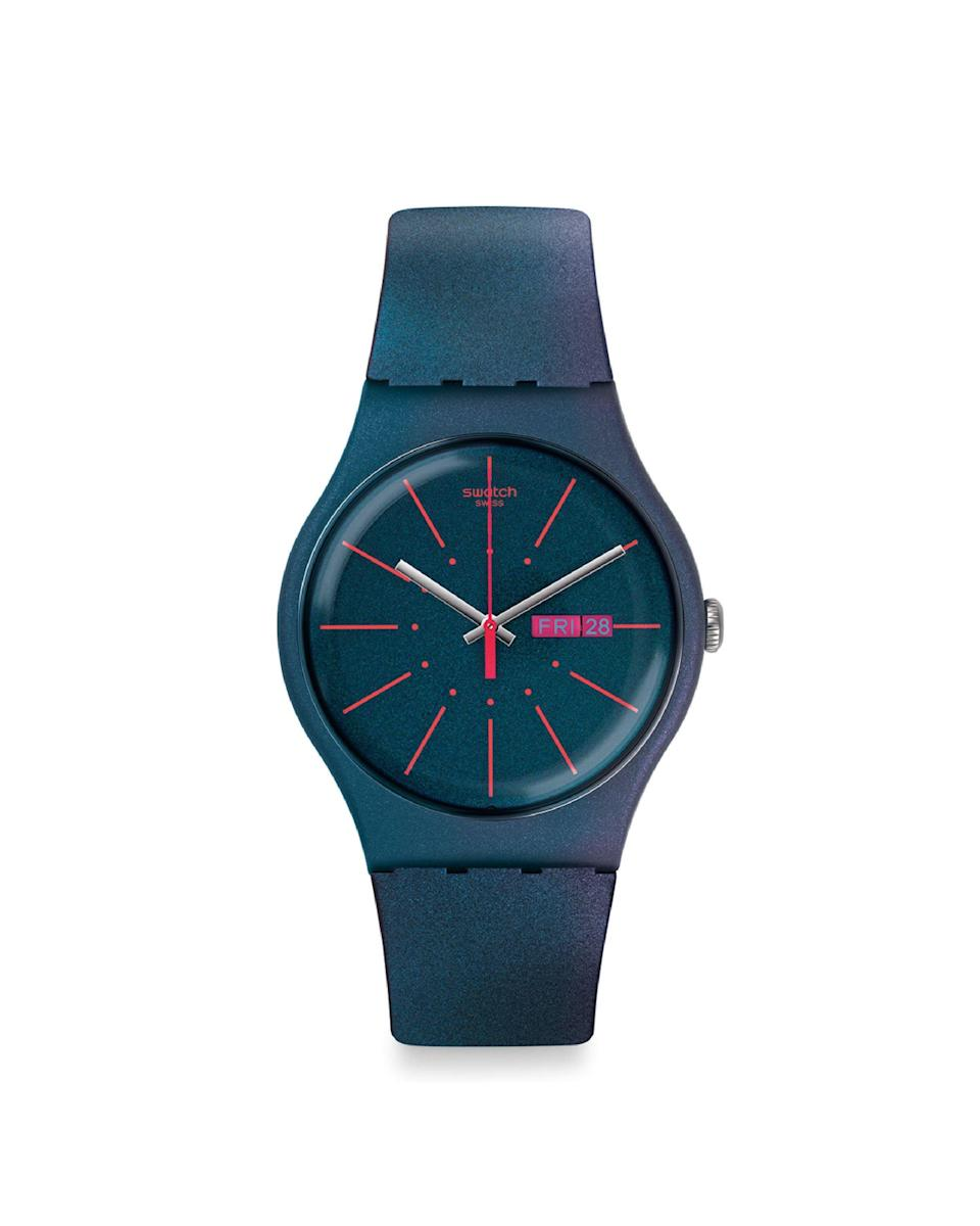 "<p><strong>Swatch</strong></p><p>amazon.com</p><p><strong>$74.99</strong></p><p><a href=""https://www.amazon.com/dp/B01LZ5JKOJ?tag=syn-yahoo-20&ascsubtag=%5Bartid%7C10058.g.3961%5Bsrc%7Cyahoo-us"" rel=""nofollow noopener"" target=""_blank"" data-ylk=""slk:Shop Now"" class=""link rapid-noclick-resp"">Shop Now</a></p><p>A soft iridescence and neon pink ticking stripes elevates this rubber piece from function to fashun.</p>"