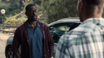 "This image released by NBC shows Sterling K. Brown in a scene from ""This Is Us."" Season five debuts Tuesday and will address the pandemic and Black Lives Matter movement. (NBC via AP)"