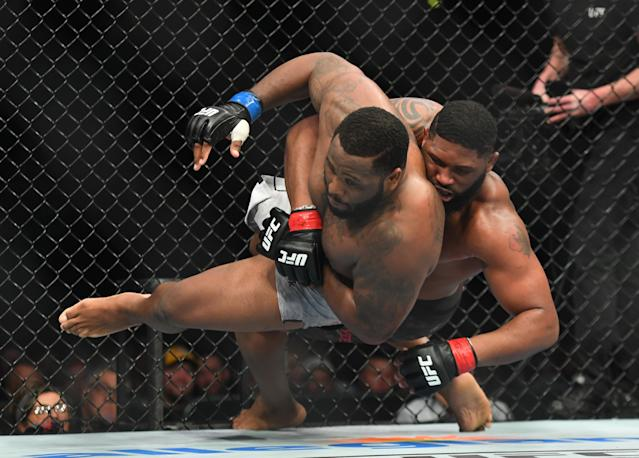 Curtis Blaydes (R) and Justin Willis during UFC Fight Night on March 23, 2019 at Bridgestone Arena in Nashville, Tennessee. (Christopher Hanewinckel/USA Today Sports)
