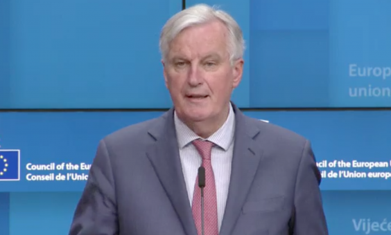 Michel Barnier speaking in Brussels after the meeting (EbS)