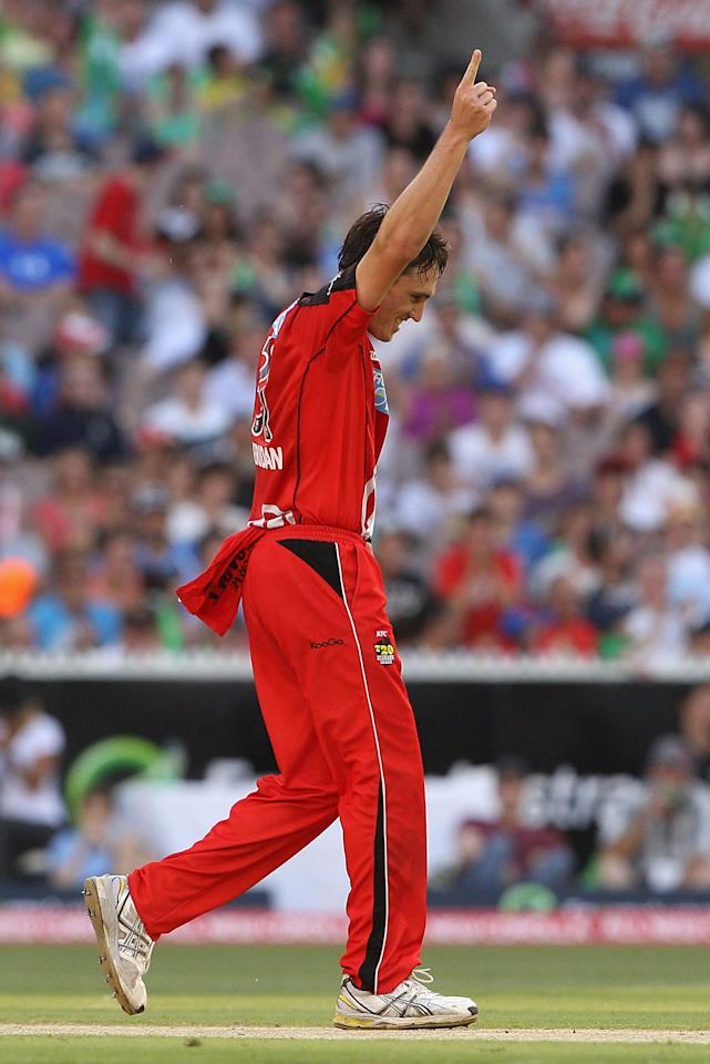 MELBOURNE, AUSTRALIA - JANUARY 06:  William Sheridan of the Renegades celebrates the wicket of Luke Wright of the Stars during the Big Bash League match between the Melbourne Stars and the Melbourne Renegades at Melbourne Cricket Ground on January 6, 2013 in Melbourne, Australia.  (Photo by Robert Prezioso/Getty Images)