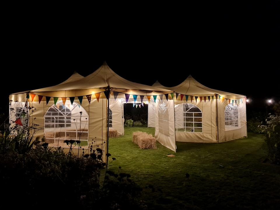 Why rent a venue for your reception when you can use your back garden? (SWNS)