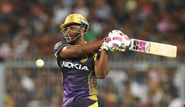 Cricketer Andre Russell plays a shot during an Indian Premier League game in West Bengal (AFP Photo/Dibyangshu SARKAR)