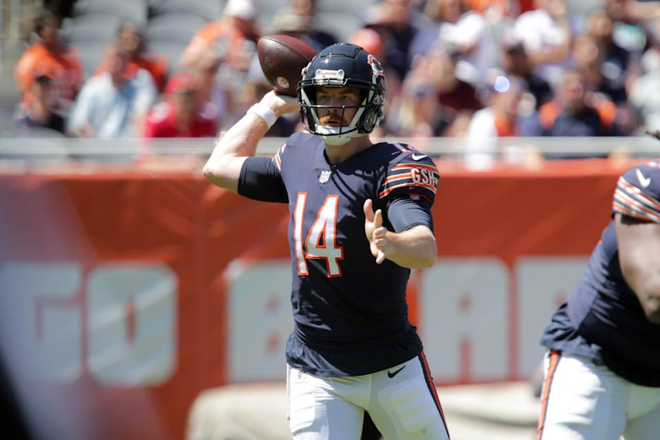 Chicago Bears quarterback Andy Dalton (14) looks to pass during the game against the Miami Dolphins at Soldier Field.