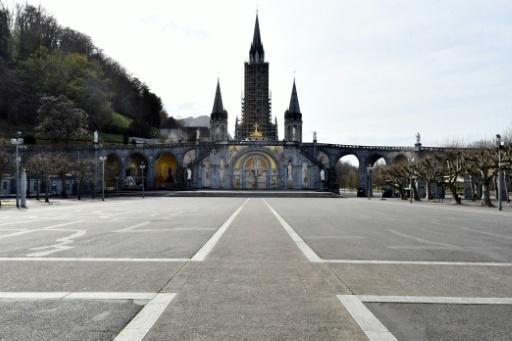 Normally packed with pilgrims over Holy Week and Easter, the Sanctuary of Our Lady of Lourdes in  southwest France is deserted, with ceremonies relayed on social media and tv to the faithful around the world