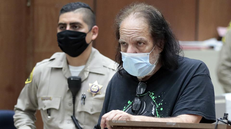 Ron Jeremy appears in court over rape charges with a face mask on