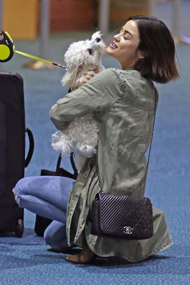 <p>Smothered in puppy love! The actress's dog, Elvis, met her at the airport when she arrived back in Vancouver, Canada, after spending the weekend with her friends in L.A. (Photo: CYVR/BackGrid) </p>