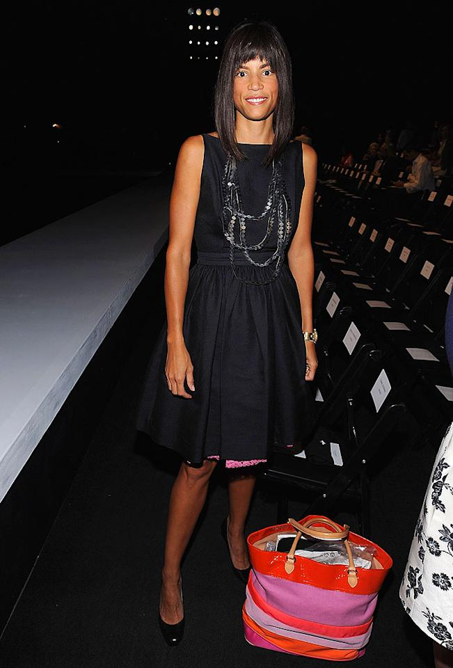 "Model Veronica Webb sat front row at the Isaac Mizrahi show in a basic black frock. Perhaps she should have asked her buddy Tim Gunn (they both appeared in ""Tim Gunn's Guide to Style"") for some styling tips? Dimitrios Kambouris/<a href=""http://www.wireimage.com"" target=""new"">WireImage.com</a> - September 16, 2008"