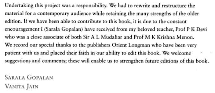 Sen. Harris' aunt, Sarala Gopalan, wrote this acknowledgment to Rep. Jayapal's aunt, P.K. Devi in a medical textbook.