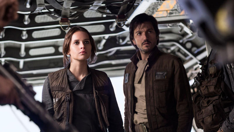 Felicity Jones as Jynn Erso and Diego Luna as Cassian Andor in 'Rogue One: A Star Wars Story'. (Credit: Lucasfilm/Disney)