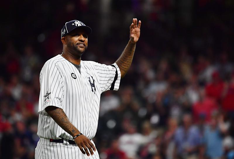 Jul 9, 2019; Cleveland, OH, USA; New York Yankees pitcher CC Sabathia visits American League pitcher Aroldis Chapman (not pictured) of the New York Yankees on the mound during the ninth inning in the 2019 MLB All Star Game at Progressive Field. Mandatory Credit: Ken Blaze-USA TODAY Sports