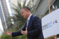 Erel Margalit, founder and chairman of Jerusalem Venture Partners, JVP, talks to The Associated Press in Dubai, United Arab Emirates, Tuesday, Oct. 27, 2020. Another plane full of Israeli business people excited about their newfound access to the UAE has touched down in Dubai this week. It's the latest whirlwind trip seeking to cash in on a U.S.-brokered deal to normalize relations between the countries. (AP Photo/Kamran Jebreili)