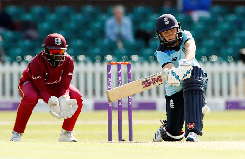 England's Heather Knight in action against the West Indies
