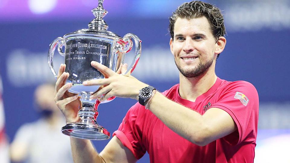 Dominic Thiem, pictured here celebrating after winning the 2020 US Open.