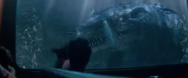 A Mosasaur attack during 'Jurassic World: The Ride,' as seen in the Universal Studios commercial.