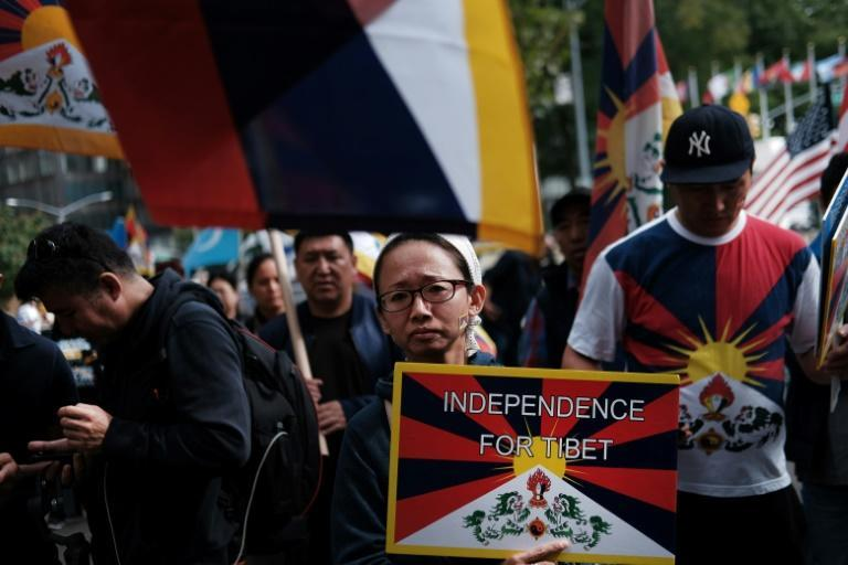 New Yorkers protest against the Chinese government in October 2019