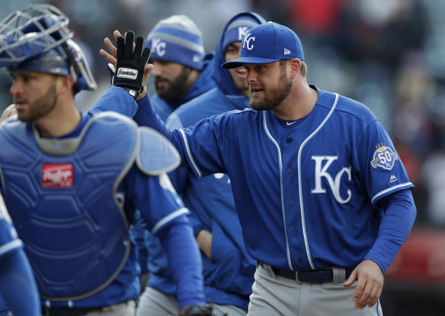Kansas City Royals' Lucas Duda is congratulated after the Royals defeated the Cleveland Indians 1-0 in a baseball game, Saturday, April 7, 2018, in Cleveland. (AP Photo/Tony Dejak)