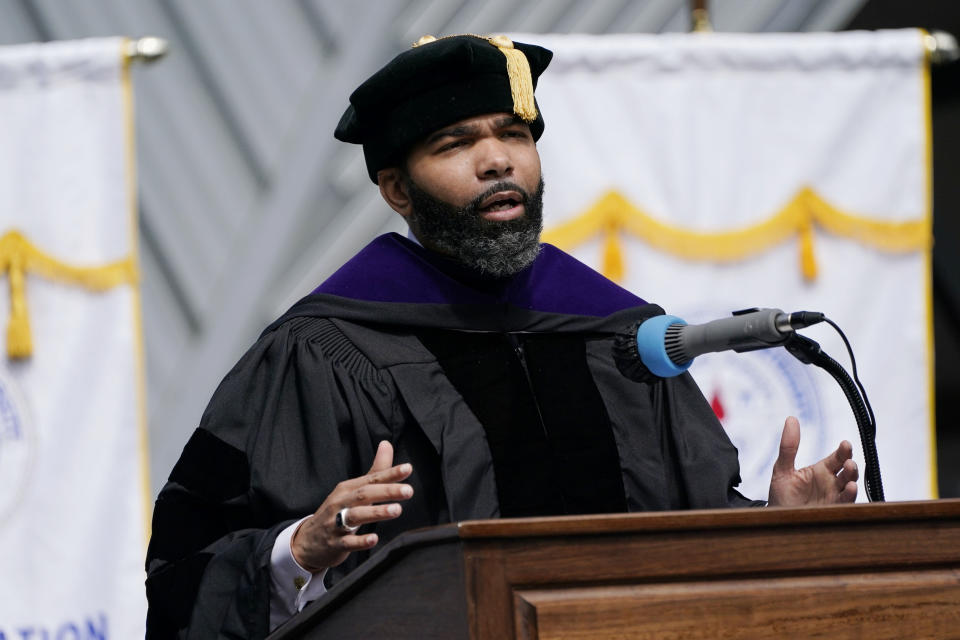 Jackson Mayor Chokwe Antar Lumumba issued an apology on behalf of the city to the families of those killed at Jackson State for the shootings 51 years ago by city and state police officers that killed two people and injured 12 others on the campus of the historically Black institution of higher learning, Saturday, May 15, 2021, in Jackson, Miss. The apology was issued during a special graduation ceremony on the campus, honoring the members of the Class of 1970, that had their graduation canceled because of the violent incident. (AP Photo/Rogelio V. Solis)