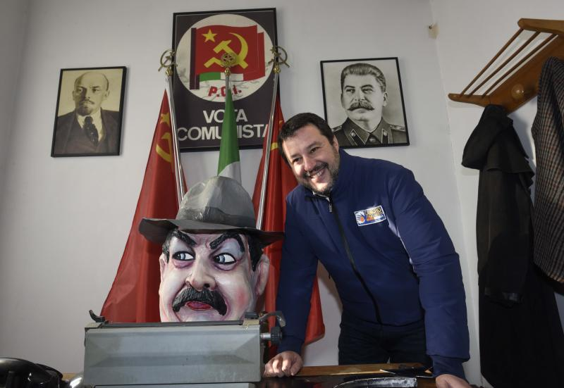 FILE - In this Jan. 12, 2020 file photo, the League's leader Matteo Salvini poses as he visits a museum devoted to fictional communist mayor, Peppone, the leftist foil to the town's priest Don Camillo in beloved comic stories and films about the fraught political healing process in postwar Italy, during an electoral rally, in Brescello, central Italy. (Stefano Cavicchi/LaPresse via AP)