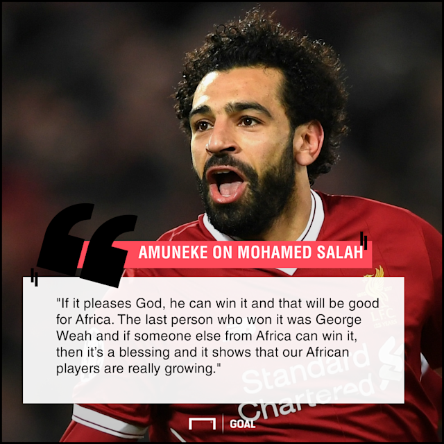 The African Player of the Year winner sees the possibility of the Egyptian star becoming the best player in the world judging by his breathtaking form