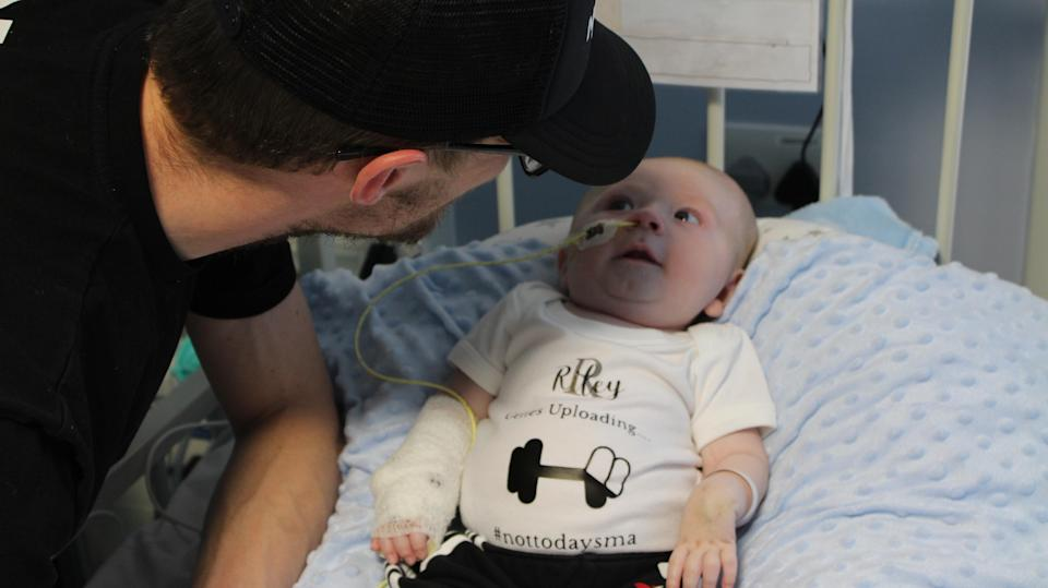 Riley Cadle-Birch with his father Ryan Birch before undergoing treatment at the Bristol Royal Hospital for Children (University Hospitals Bristol and Weston NHS Foundation Trust/PA)
