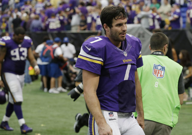 Minnesota Vikings quarterback Christian Ponder walks off the field after a 31-27 loss to the Cleveland Browns in an NFL football game Sunday, Sept. 22, 2013, in Minneapolis. (AP Photo/Jim Mone)