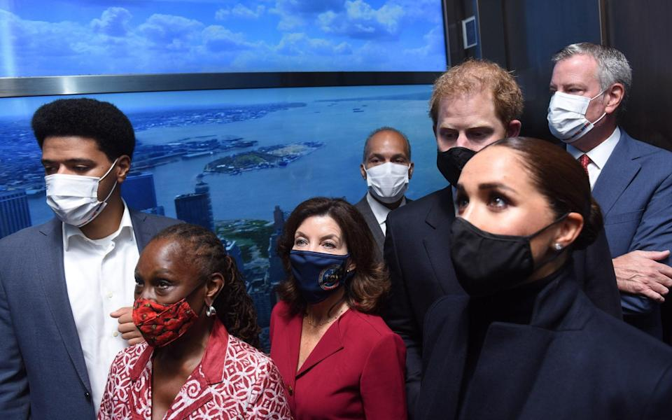 Mayor Bill de Blasio, First Lady Chirlane McCray and Dante de Blasio with the Duke and Duchess of Sussex and Governor Kathy Hochul on Thursday - Michael Appleton/Mayoral Photography Office