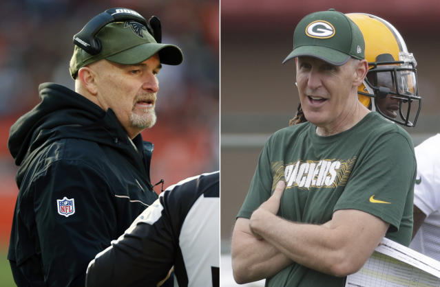 FILE - At left, in a Nov. 11, 2018, file photo, Atlanta Falcons head coach Dan Quinn talks with a line judge during the second half of an NFL game against the Cleveland Browns, in Cleveland. At right, in a July 26, 2018, file photo, then-Green Bay Packers offensive coordinator Joe Philbin watches during NFL football training camp, in Green Bay, Wis. The fortunes of the Atlanta Falcons and Green Bay Packers have changed less than two years after they met in the NFC title game. Theyre each trying to avoid losing records when the teams meet on Sunday at Lambeau Field. The Falcons have lost four straight to drop them out of the playoff picture. The Packers will be playing their first game under interim head coach Joe Philbin after Mike McCarthy was fired earlier in the week.(AP Photo/File)