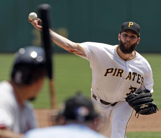 Pittsburgh Pirates starting pitcher Trevor Williams delivers in the third inning of a baseball game against the Washington Nationals in Pittsburgh, Wednesday, July 11, 2018. (AP Photo/Gene J. Puskar)