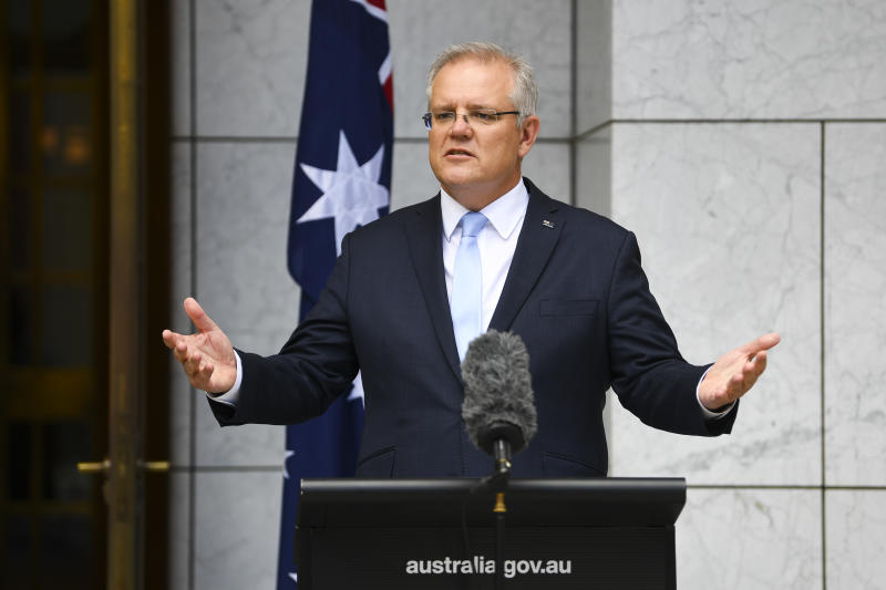 Australian Prime Minister Scott Morrison speaks to the media during a press conference at Parliament House on Friday. Source: AAP
