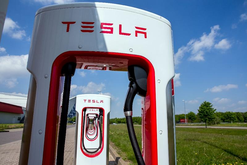 Tesla charging stations for electric cars are pictured in Wittenburg, northeastern Germany