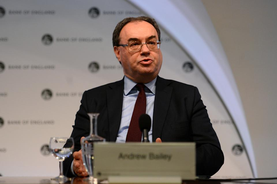 Chief Executive of the Financial Conduct Authority Andrew Bailey speaks at a press conference at the Bank of England in London, Britain February 25, 2019. Kirsty O'Connor/Pool via REUTERS